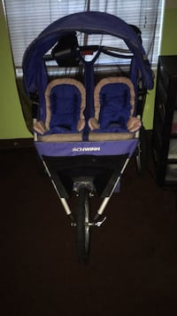 baby's blue and gray twin stroller 43 km