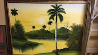 green palm tree painting with brown wooden frame Burnaby, V5J 2C8