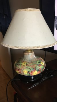 green, yellow, and brown ceramic table lamp with barrel lampshade St Catharines, L2S 2E7