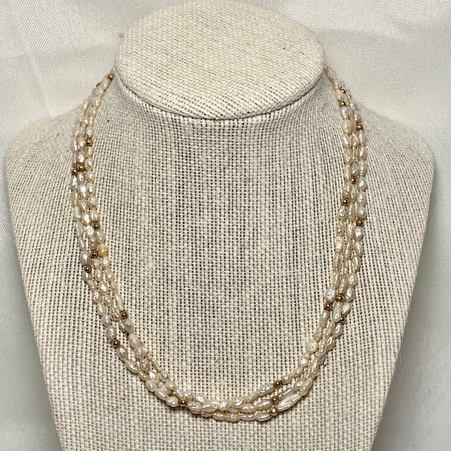 Genuine Pearl Necklace with 14k Gold Beads & Clasp 7cbdeb0e-b425-42b4-bc5c-27d95020a7c2
