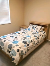 Twin bed frame, mattress and bedside table Port Coquitlam, V3C 5Y7