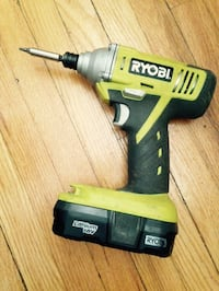 RYOBI POWER DRILL cordless with battery and bag of other tools