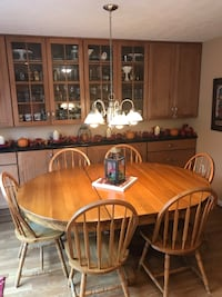 "Solid Oak Table and Chairs (8 Chairs total), 54"" Round or 72"" Oval with Leaf Burtonsville, 20866"