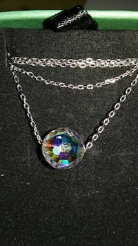 Multi facet Floating Crystal Sphere Pendant Silver 42 mi