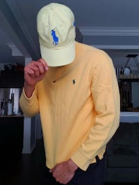 Polo Ralph Lauren Sweatshirt/Leather Strap Hat Combo Yellow 3 Newmarket