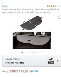 NISSAN MORANO PRIVACY TRUNK CARGO Vaughan, L6A