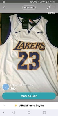 white and black Lakers 24 jersey shirt screenshot Dearborn Heights, 48127