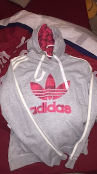 Sweat-shirt à encolure Adidas et gris et rouge 6129 km