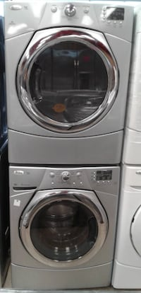 gray front-load clothes washer and dryer set null