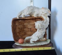 Now $75 from $90 *** FLORENCE Armani 1982**SIGNED Sculpture*White Cats Playing in Basket*IF AD'S UP, STILL AVAILABLE