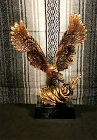 Large Eagle Statuette in Faux Bronze