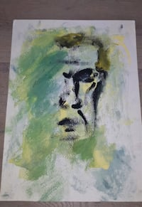 Original Abstract Portrait on Paper-Self Portrait of a Discouraged Man District of Columbia