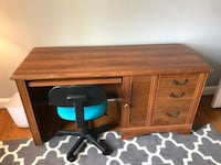Wood desk with office chair