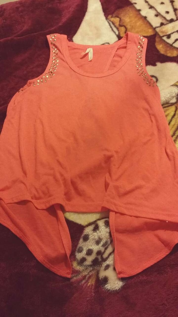 Women orange tank top (open on back)