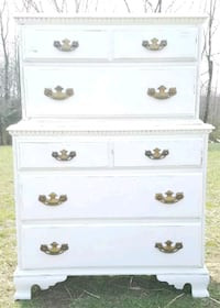 LARGE COUNTRY WHITE FARMSTYLE 2-TIER DRESSER