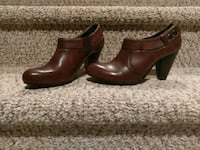 pair of brown leather chunky heeled booties Woodbridge, 22193