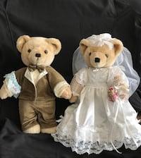 """Vintage Bearly People Collectible 15"""" Bride and Groom Wedding Teddy Bears (1983) Pinole, 94564"""