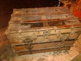 1800s antique wood and metal trunk