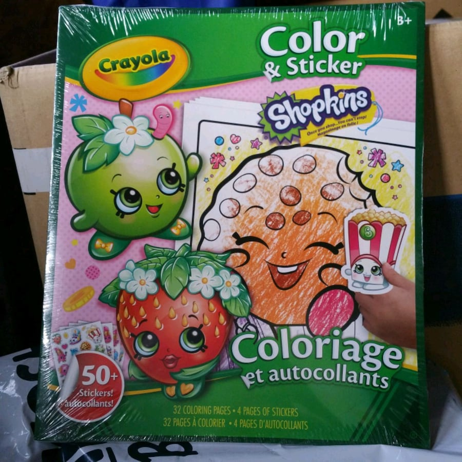 Shopkins Coloring Book with Stickers.