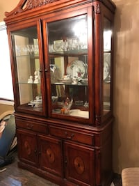 brown wooden framed glass display cabinet New York, 11203