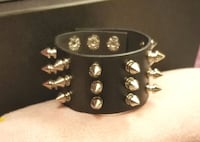 New! Unisex Black Leather Punk/Metal Spike Bracele Amarillo, 79109