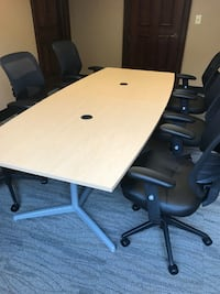 "96"" X 42"" Boat Top Conference Table W/ 6 Chairs NEW Maple"
