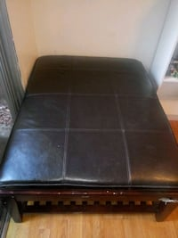 Large Oak and Leather Ottoman Citrus Heights, 95610