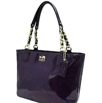 NEW Purple Patent Leather Coach Tote Chain Handbag NWOT