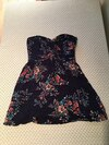 women's blue and orange floral sweetheart cocktail dress