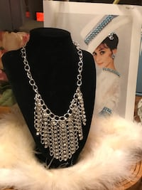Pretty!!!! Silver Statement Necklace with Diamond Crystal Stones Gainesville, 20155