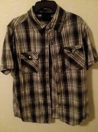 beige, black, and white plaid button-up t-shirt