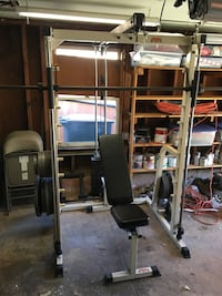 Squat Rack w/ Pull Down & Rowing Station
