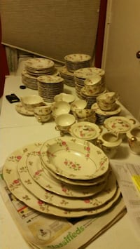 white and pink floral ceramic dinnerware set Houston