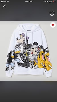 white and black Mickey Mouse print pullover hoodie Toronto, M1B