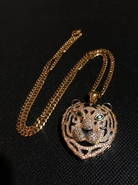 18k Gold Plated Tiger Head Necklace