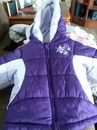 purple and white floral zip-up bubble jacket