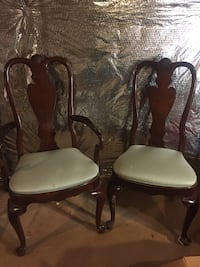 Ethan Allen solid cherry oval dining table with two chairs Falls Church