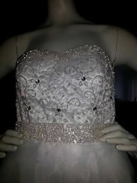 white beaded and sweetheart neckline