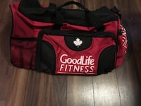 red and black GoodLife Fitness duffel bag London, N5V