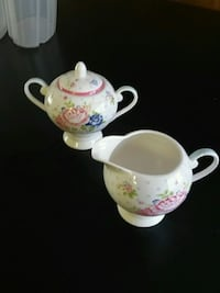 white and pink floral ceramic teapot and pitcher Langley