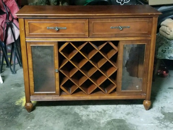 Solid wood hutch with wine racks