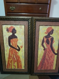 4 brown wooden framed photo of woman $25 for all