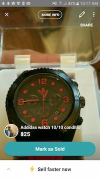 Addidas red rubber strap watch Mississauga, L5N 7Z1