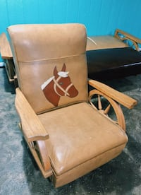 Wooden frame leather horse armchair Minooka, 60447