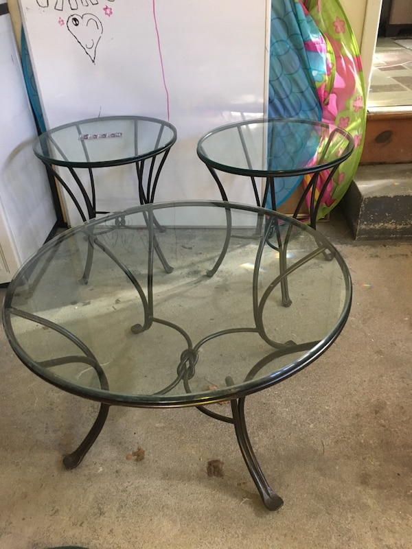 Pier 1 Wrought Iron Coffee Table And End Tables