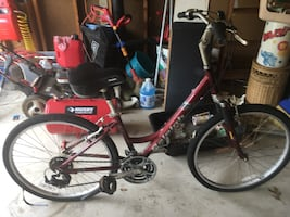 Red and black hardtail bike