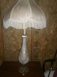 white fringe floral table lamp with ceramic base