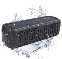 (NEW) Solar Bluetooth Speaker Portable Outdoor Bluetooth IPX6 Waterproof Speaker with 5000mAh Power Bank,60 Hours Play Time Dual Speaker with Mic, Stereo Sound with Bass Home Wireless Speaker-Black