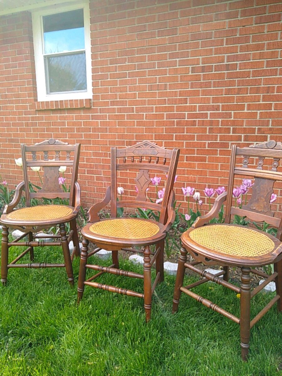 3 Antique Cane Chairs Obo