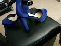 pair of blue suede peep toe ankle strap heels Youngstown, 44512